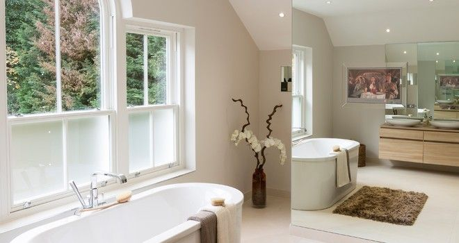 window film for shower doors Bathroom Transitional with arch window brown bath
