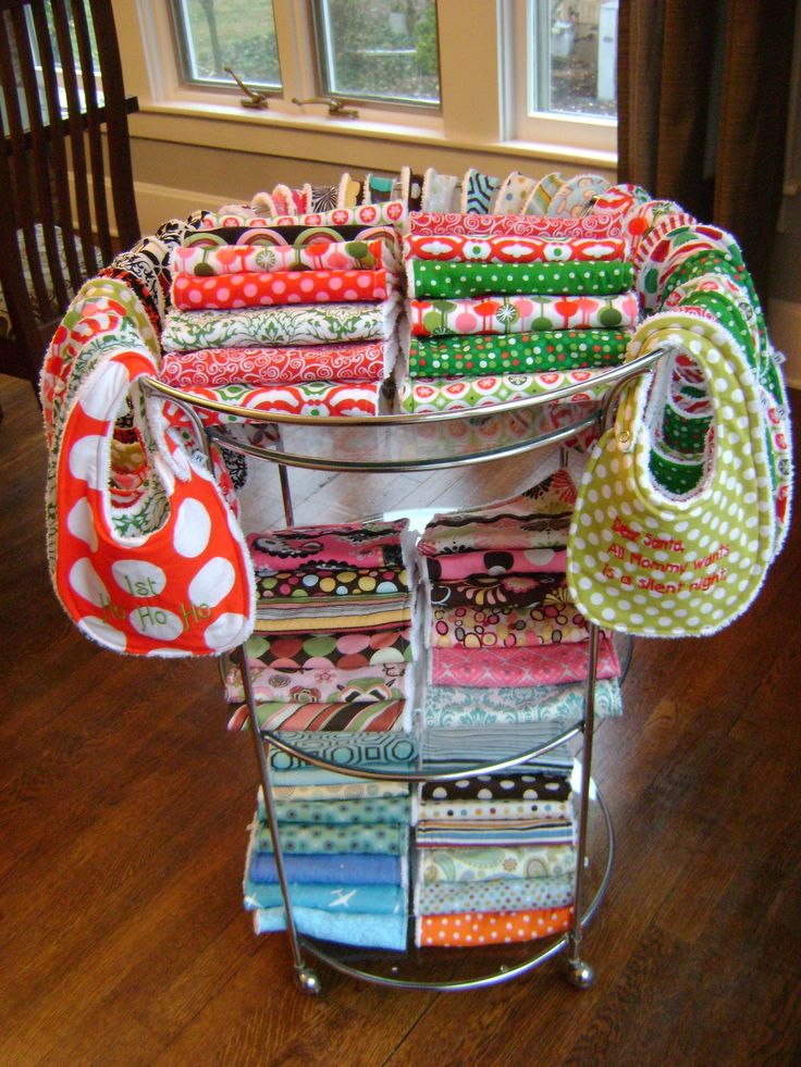 great bib/burp cloth display idea
