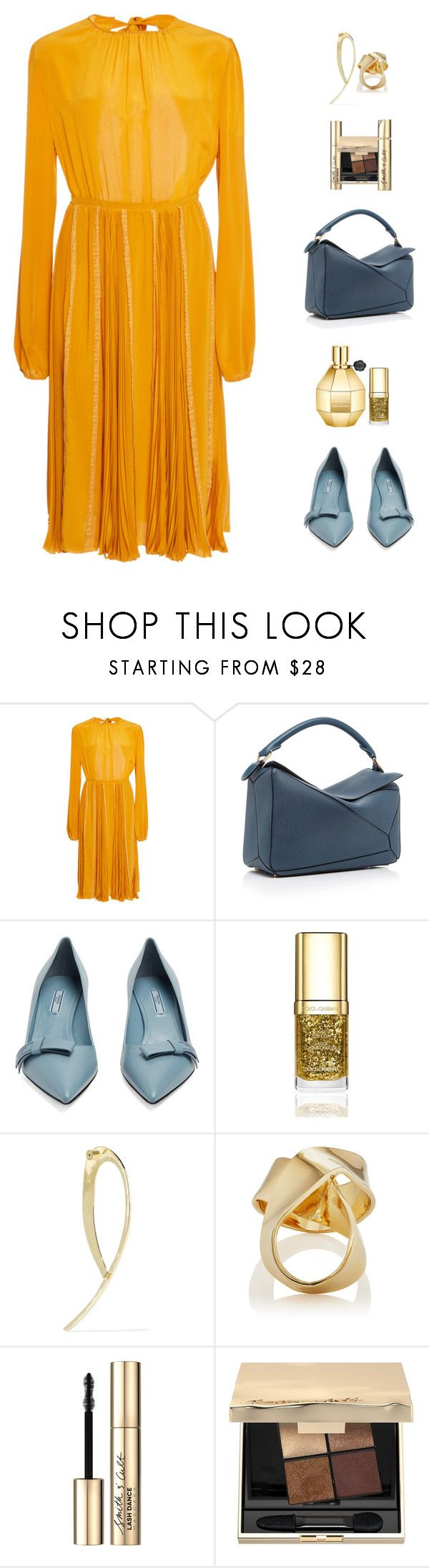 """Monday In Marigold"" by sereneowl ❤ liked on Polyvore featuring Rochas, Loewe, Prada, Dolce&Gabbana, Jennifer Fisher and Smith & Cult"
