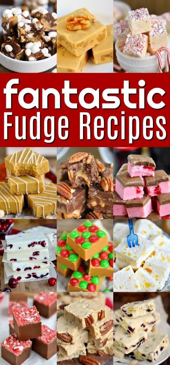 """An amazing collection of the very best """"Fantastic Fudge Recipes"""" Quick and easy, cooked, chocolate, peanut butter, nuts or no nuts, peppermint, pineapple - we've got it all! Perfect for the holiday season and all year long!   Article from Trish   Saved from  Mom On Timeout   https://www.momontimeout.com/fantastic-fudge-recipes"""