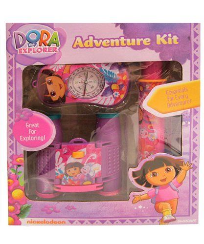 Dora the Explorer 3-Piece Adventure Kit - colors may vary, one size by Nickelodeon. $11.32. Warning: choking hazard. Not for children under 3.. 35 mm Camera: focus free; uses any 35 mm slide or film.. 4 x 28 Binoculars: compact size; great for birdwatching, camping, and sightseeing.. Flashlight: illuminates 10 feet; uses 2 AA batteries (not included).. 1 Year Warranty Card. This kit from Dora the Explorer will take playtime adventures to the next level. All items hav...