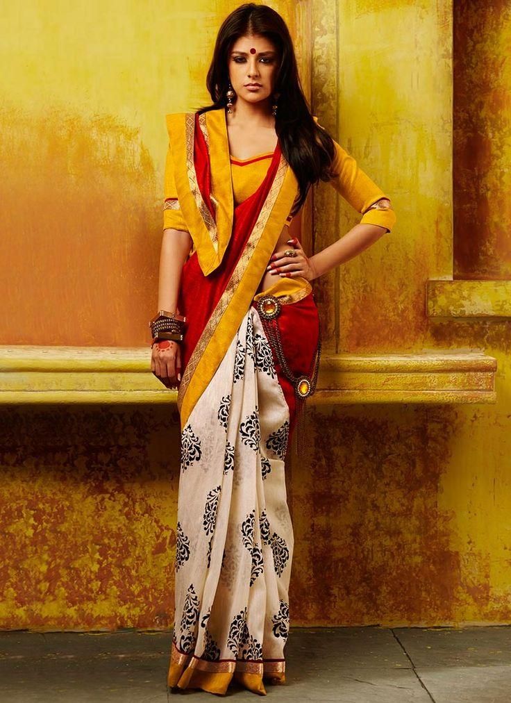 Ideal Red & Off White Bhagalpuri Silk Saree
