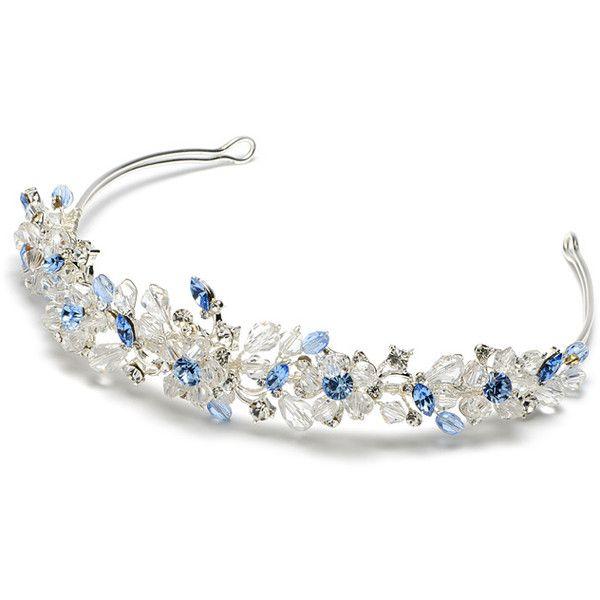 Blue Crystal Wedding Tiaras, Swarovski Crystals Blue Tiaras ($80) ❤ liked on Polyvore