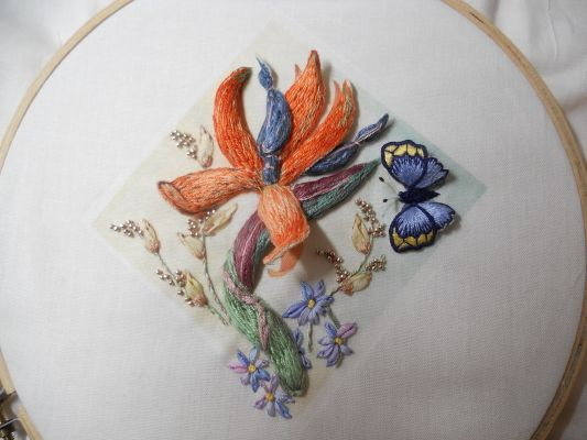 Ribbon and stumpwork embroidery