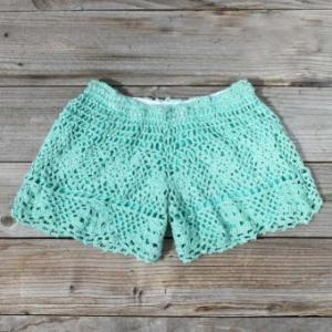 springtime mint shorts? sure!    http://www.wanelo.com/women/Traveler+Crochet+Shorts+in+Mint.+Women%27s+Sweet+Country+Clothing-597323.html