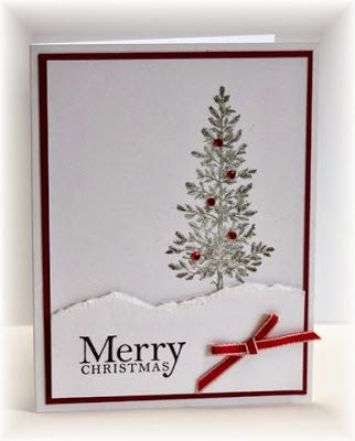 less is more....featuring Stampin Up's Lovely as a Tree stamp set