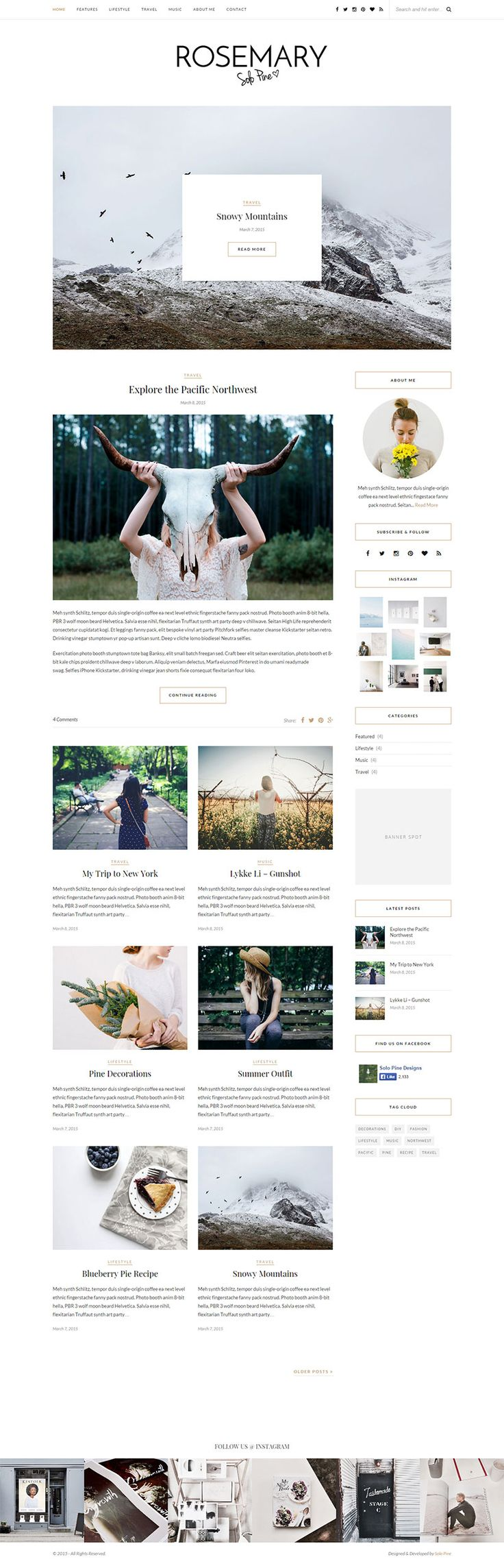 Rosemary is a light & bright blog theme, tailored to showcase your content in an effortlessly timeless style. Boasting popular features such as a full-width Instagram footer area, a showstopping featured area slider, and an abundance of post & layout options, Rosemary's clean, contemporary design is guaranteed to wow and inspire!