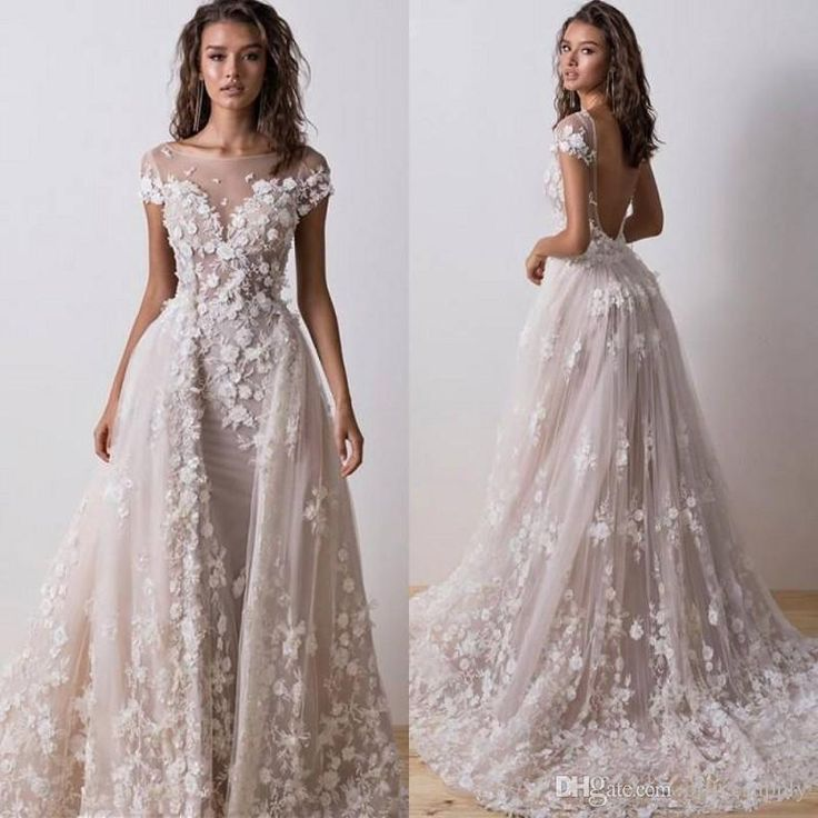 Overskirt Lace Marriage ceremony Attire Removable Prepare Arabic Bridal Robes With Sweetheart Backless Sheer Quick Sleeves Bridal Attire