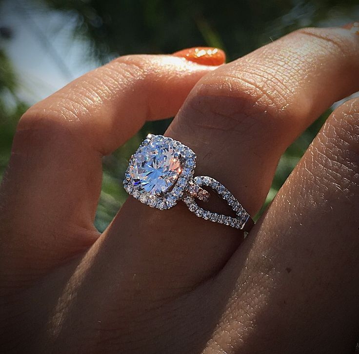 Disney Inspired Rings with a halo engagement ring from Simon G. Pink diamonds and white