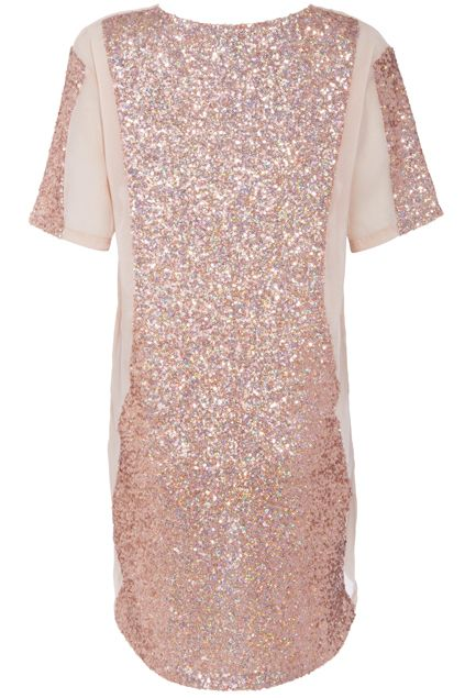 ROMWE Gold Sequined Short-sleeved Nude Blouse