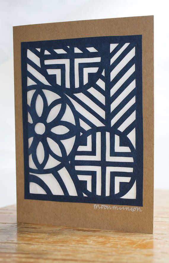 Hanji Greetings Card - hand paper cut Korean Hanji paper blue