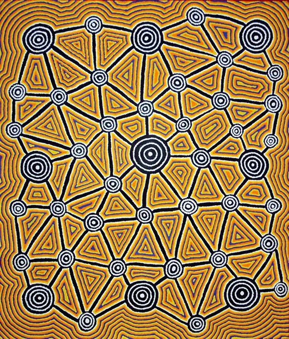 Une oeuvre récente de Cynthia Wheeler NAKAMARRA, peintre aborigène de la communauté de Yuendumu, Désert Central, Australie