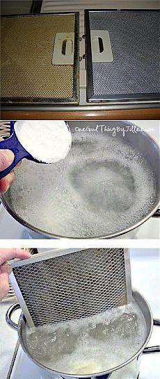 Как быстро отмыть фильтр вытяжки. Возьмите большую кастрюлю по размеру фильтров вытяжки, наполните водой и доведите ее до кипения.  Постепенно добавьте в воду 1/2 чашки обычной соды, всыпая соду медленно по чайной ложке. Опустите фильтры в кипящую воду,   Если жир не ушел полностью, то поместите фильтры в горячую воду с нашатырным спиртом (1/2 стакана нашатыря на 3,5 литра воды)