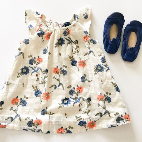 GAP Dresses - Gap Floral Dress & Yosi Samra Blue Flats https://presentbaby.com
