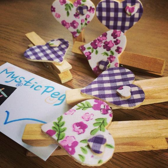 Wooden Clothes Pegs Set of 6 With Hearts by MysticPeg on Etsy