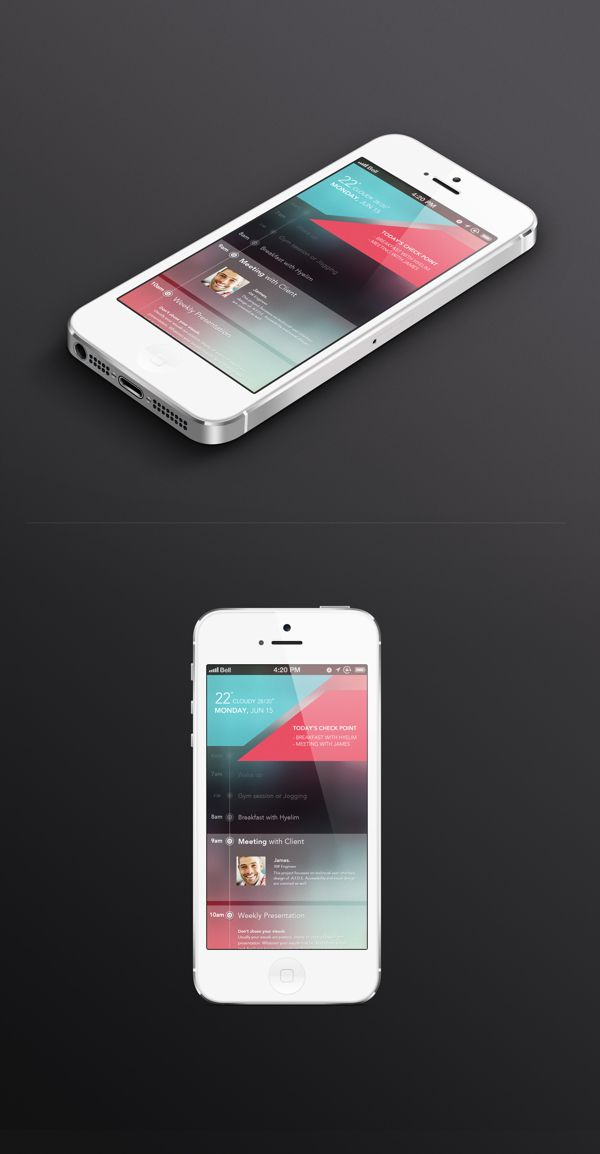 Today's Schedule app UI by Hyelim Choi, via Behance