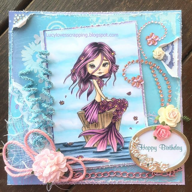 Lucy loves scrapping: Lacy Sunshine mermaid digi image, hand colored with Copics, handmade cute girly birthday greeting card