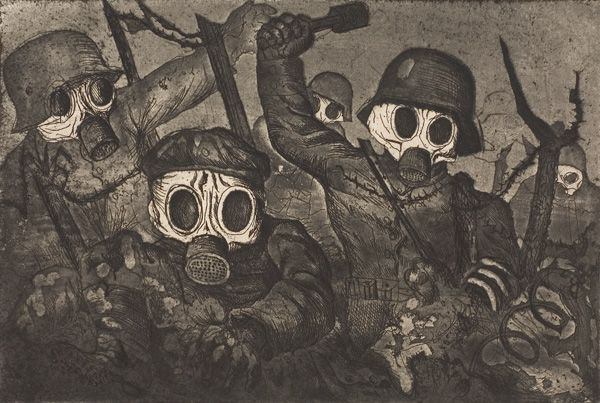 Stormtroops advancing under a gas attack [Sturmtruppe geht unter Gas vor] : The scene is other worldly as gas clouds the atmosphere. Their features are obscured by masks and their fingers are curled like claws. These are men who will kill by any means. But are they men?  Publisher: From Der Krieg; #12  National Gallery of Austrailia  Canberra