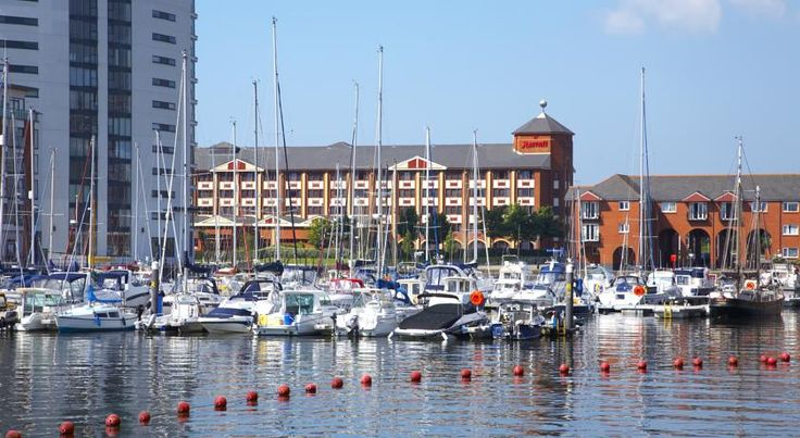 Swansea Marriott Hotel Swansea This beachfront hotel has dramatic views of Swansea Bay, and is a short stroll from the town centre. The M4 motorway, golf courses and the Gower Peninsula are nearby. Free WiFi is available in public areas.