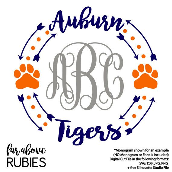 Auburn Tigers War Eagle Monogram Wreath Arrows (monogram NOT included) - SVG, DXF, png, jpg digital cut file for Silhouette or Cricut Auburn