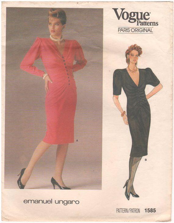 1985 - vogue 1585 Vintage naaien patroon Parijs oorspronkelijke Emanuel Ungaro jurk Semi rechtstreeks onder Mid knie uitgerust geplooid maat 10 buste 32
