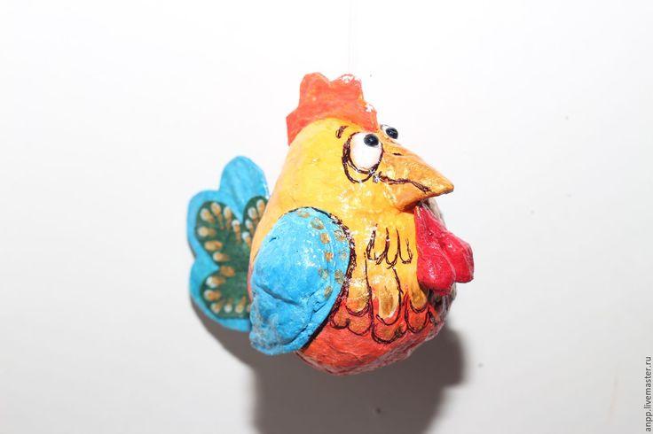 Купить Ватная ёлочная игрушка Петушок - петух 2017, петух символ 2017 года, петух