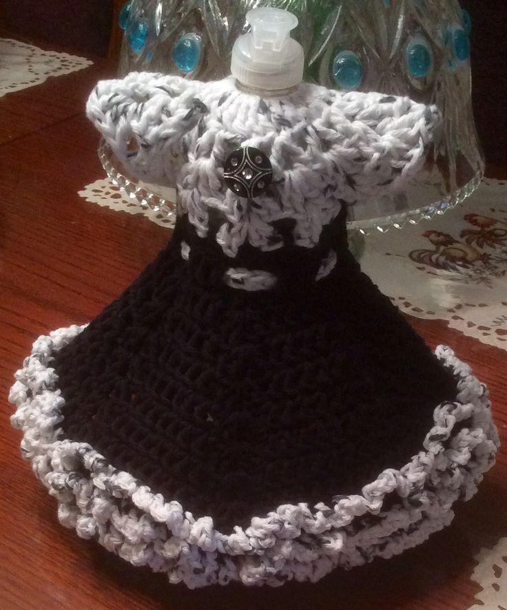 Crochet Dish Soap Bottle Dress  Front view  Crochet