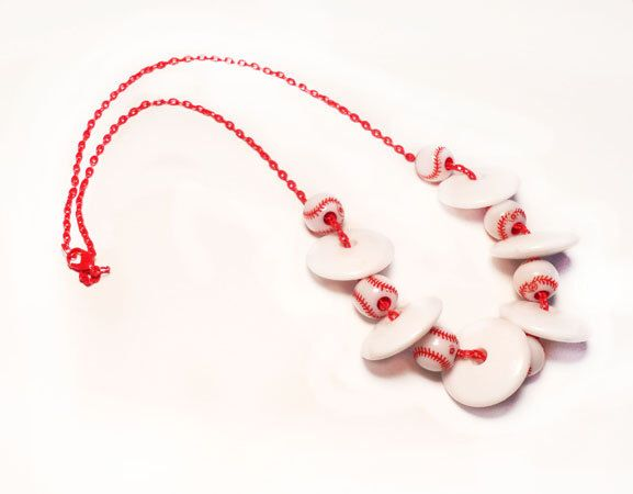 """Red and White Baseball Necklace, Handmade, Chain, Home Plate, Charm, Beads, 21"""" Red Chain, Jewelry, Summer by CASTTHESTONE on Etsy https://www.etsy.com/listing/154660064/red-and-white-baseball-necklace-handmade"""