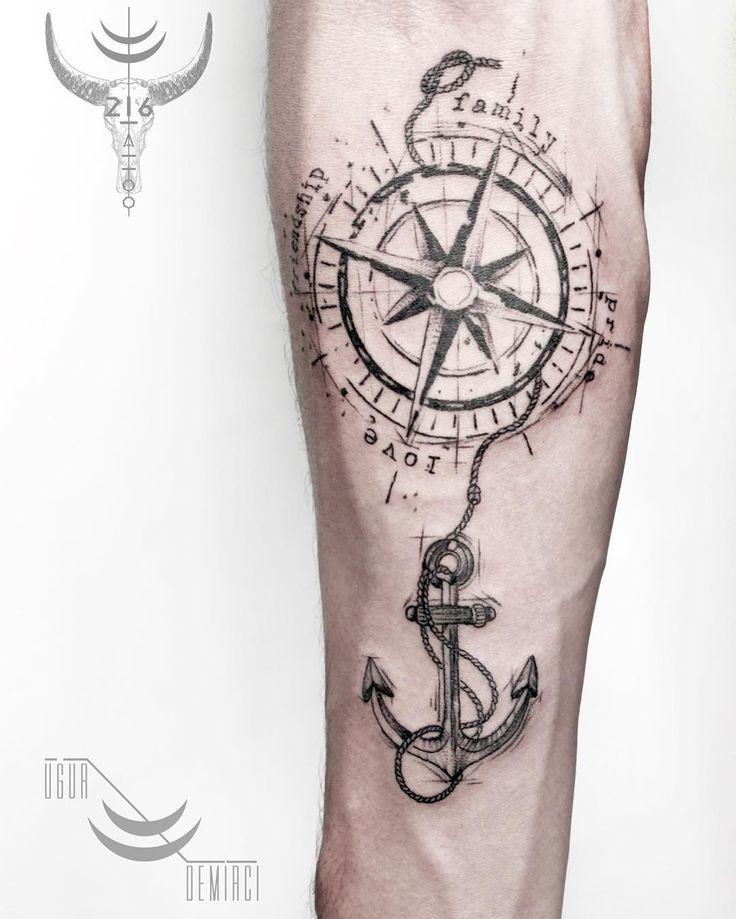 999 mentions J'aime, 1 commentaires – Uğur Demirci (@tattoodemirci) sur Instagram : « @lacenano #tattoodemirci #customwork #sketch #anchor #drawing #compasstattoo #tattoomagazine… »
