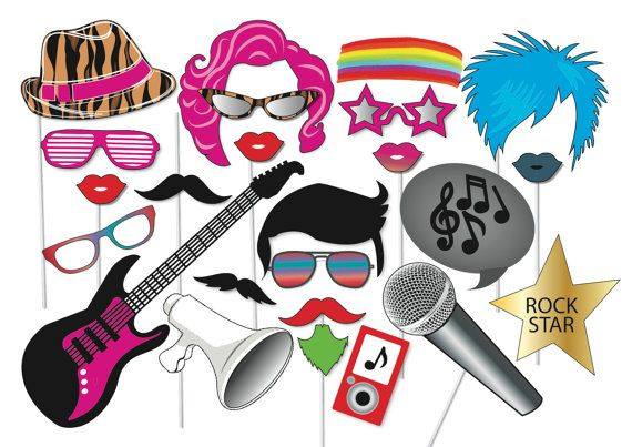 Popstar and Rockstar Party Photo booth Props Set - 24 Piece PRINTABLE - Disco party, karaoke party, Famous, hollywood