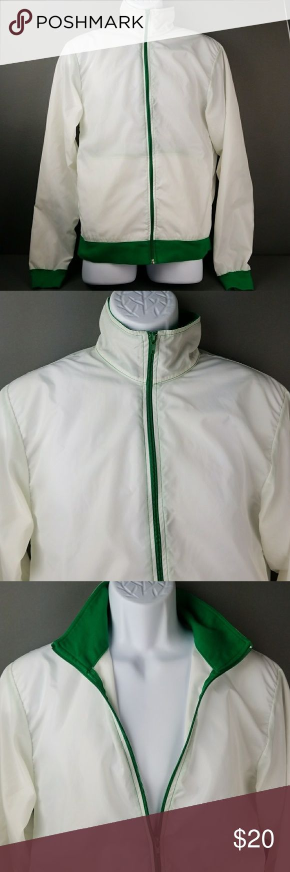 American Apparel Mens windbreaker jacket In good condition looks very nice in person its white with green.  Size M American Apparel Jackets & Coats Windbreakers