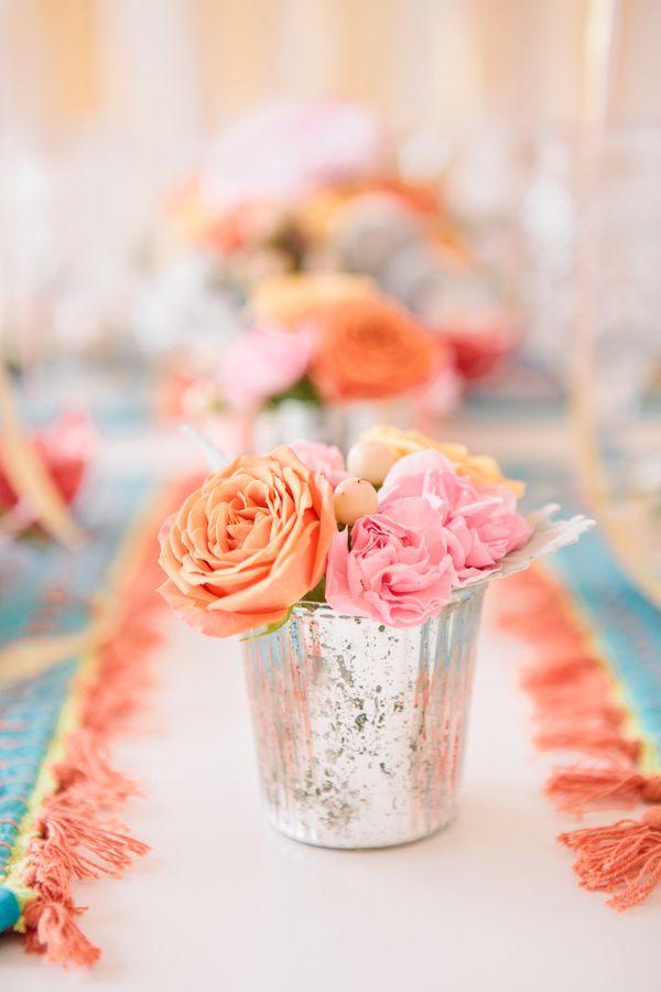 pastel florals in mercury vases for bridal shower decor #florals #bridalshower #weddingchicks http://www.weddingchicks.com/2014/02/18/pink-and-blue-bridal-ask-party