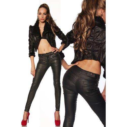 coole Stretch-Hose mit Nieten in Lederoptik, schwarz