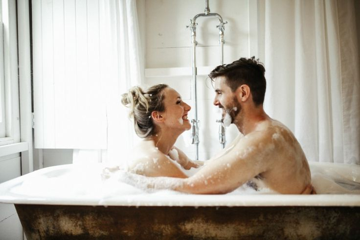 Break the mold and take some fun engagement photos in a bubble bath!  See more Intimate and fun engagement shoot by Brown Paper Parcel