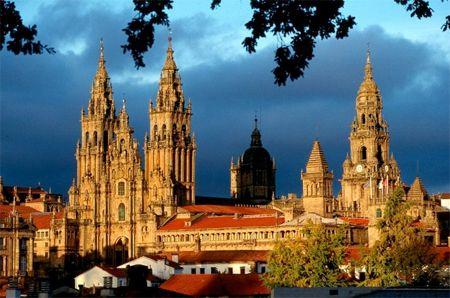 A beautiful shot of the cathedral at the destination of the Camino de Santiago, in Santiago de Compostela.  #Camino de Santiago #Camino #The way of St. James