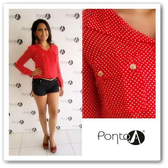 #Newcollection Blusa Chiffon Vermelha de Poá, Já disponível em nossas lojas!! #Look #Estampa #Chic #Arrasa #AmopontoA #fashion #linda. INFORMAÇÕES DE REVENDA: Whatsapp: (85) 8565-5565.