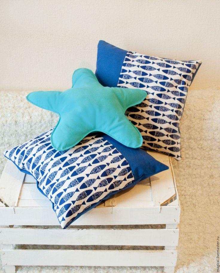 """Купить Набор подушек """"Морской микс"""" - морская тема, морской стиль, море, рыбы"""