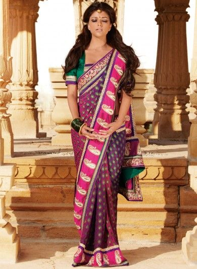 Purple Viscose Saree