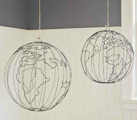 Wire Hanging Globes would be cool in a corner or over the crib in Jack's room.