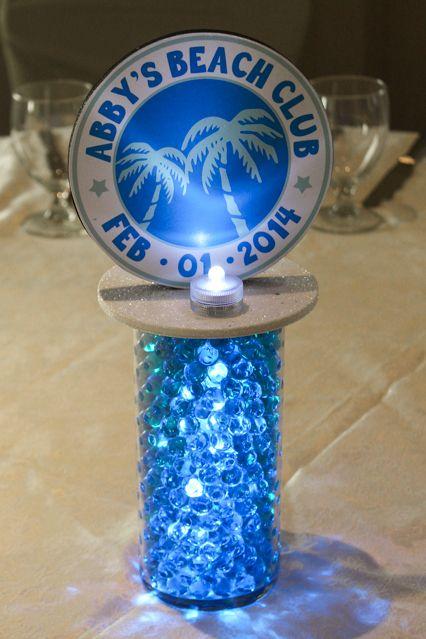 Vase with Aqua Gems, LED Lights (cocktail tables)