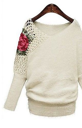 Women's Spring V Neck Embroidery Cape Sleeve Sweater