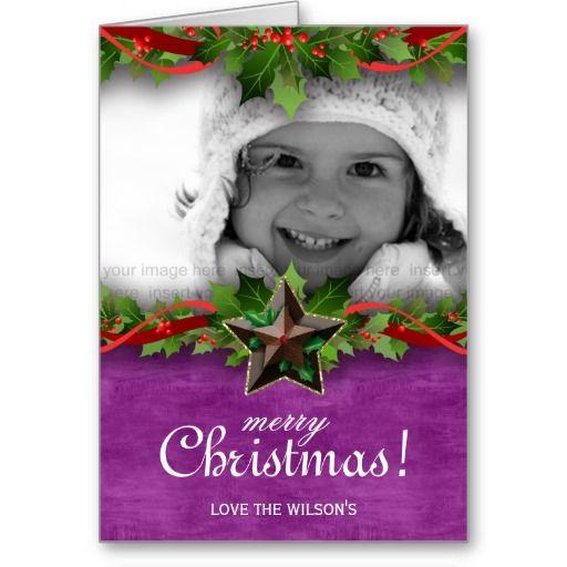 Christmas Photo Card Star Holly Purple