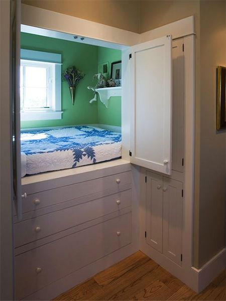 loft beds in small bedroom in cupboard