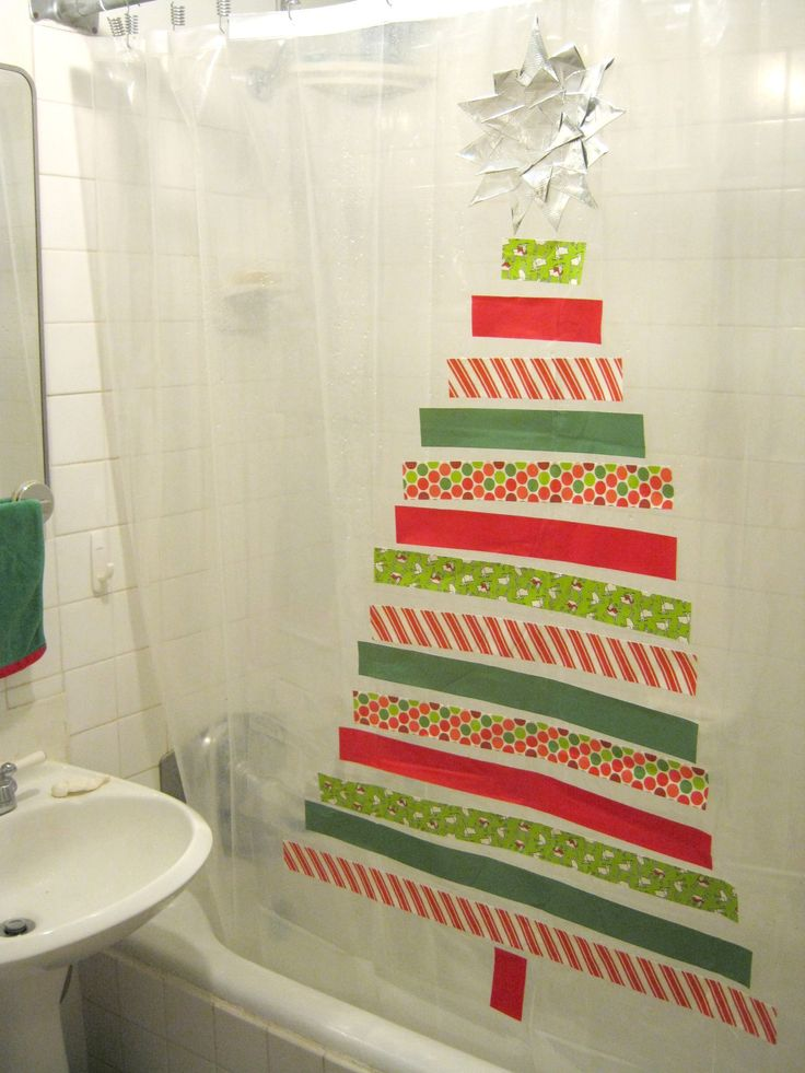 Sweater Surgery: How to make a Duck Tape Christmas tree shower curtain decoration
