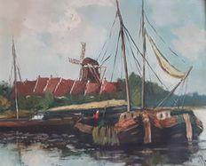 Clement van Vlaardingen (1916-1972) - ¨Boats moored in harbour¨ (Botes atracados en el puerto)