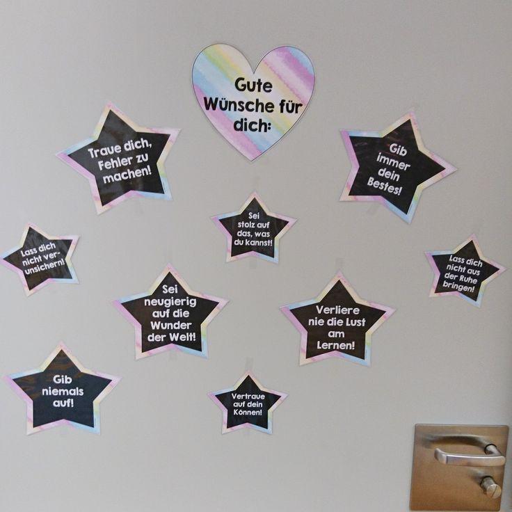Sterne mit guten Wünschen  An meiner Klassenzimmertür befinden sich seit diesem Schuljahr Sterne mit guten Wünschen für die Kinder. Diese w...