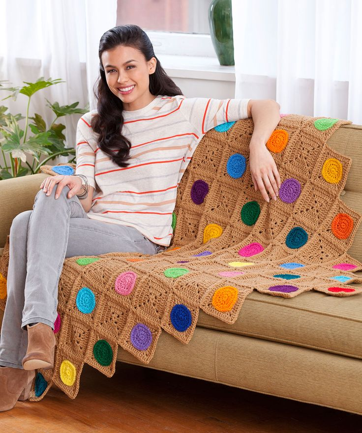 Crochet Circles Throw Crochet Pattern  #crochet  #redheartyarns