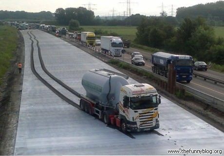 """FAIL! Driver missed the Wet Concrete sign. What's really disturbing is how far he got before he was like, """"Wait a minute...this doesn't seem right."""""""