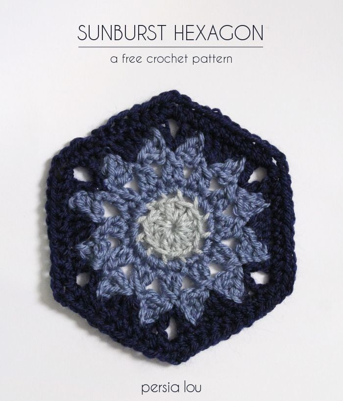Sunburst Hexagon - free crochet pattern by Persia Lou  for the The Blog Hop Crochet Along