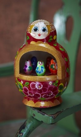 Hand painted wooden music box that plays a Russian folk song. Dolls and colours might vary slightly from image shown. Hand made in Russia